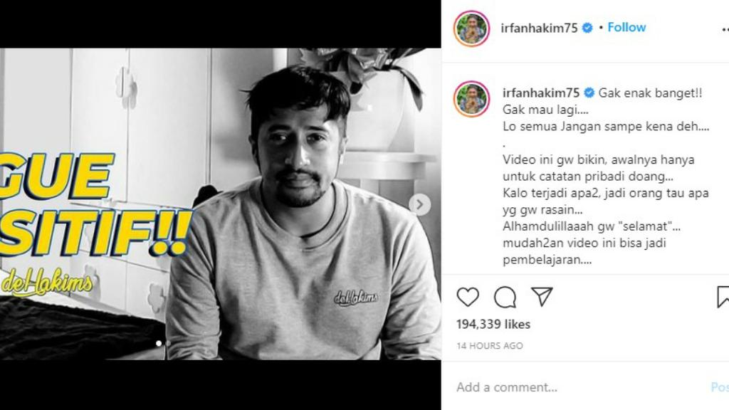 Irfan Hakim Positif Covid-19, HT Jadi Obat Kangen Anak Istri