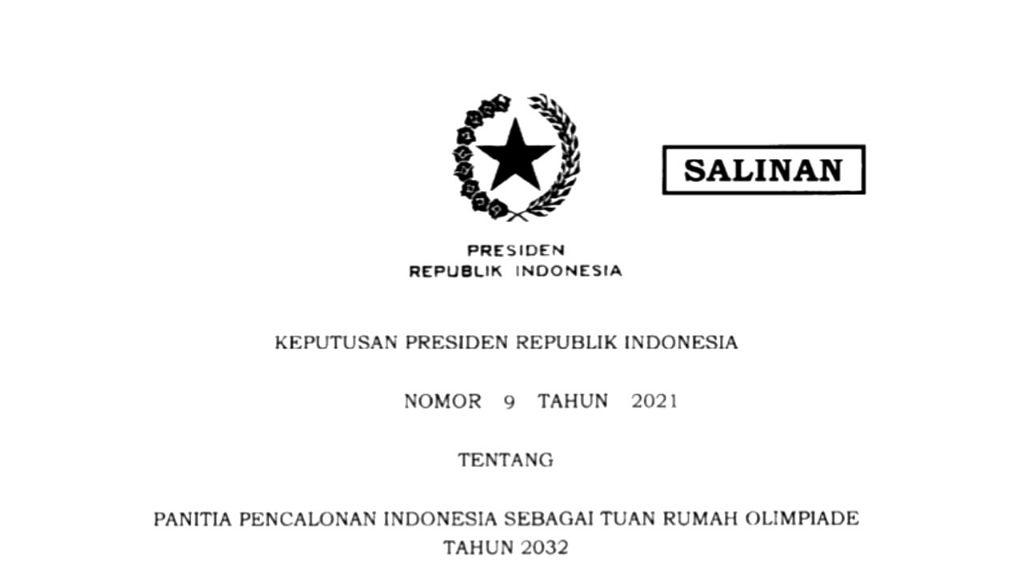 Keppres Pencalonan Indoinesia Sebagai Tuan Rumah Olimpiade 2032